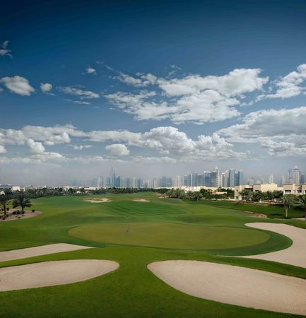 Overview of golf course named The Address Montgomerie Dubai