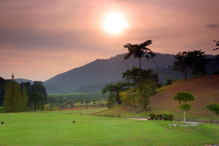 Overview of golf course named Gunung Raya Golf Resort