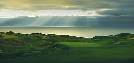 Overview of golf course named Whistling Straits