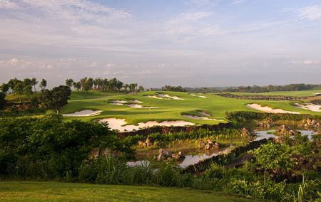 Overview of golf course named The Blackstone at Mission Hills Haikou