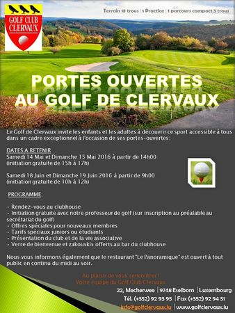 Cover of golf event named PORTES OUVERTES AU GOLF DE CLERVAUX