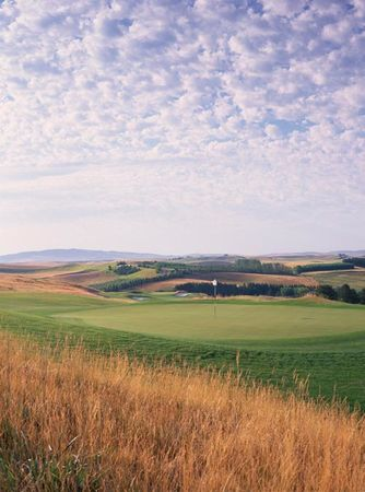 Overview of golf course named Palouse Ridge Golf Club at Washington State University
