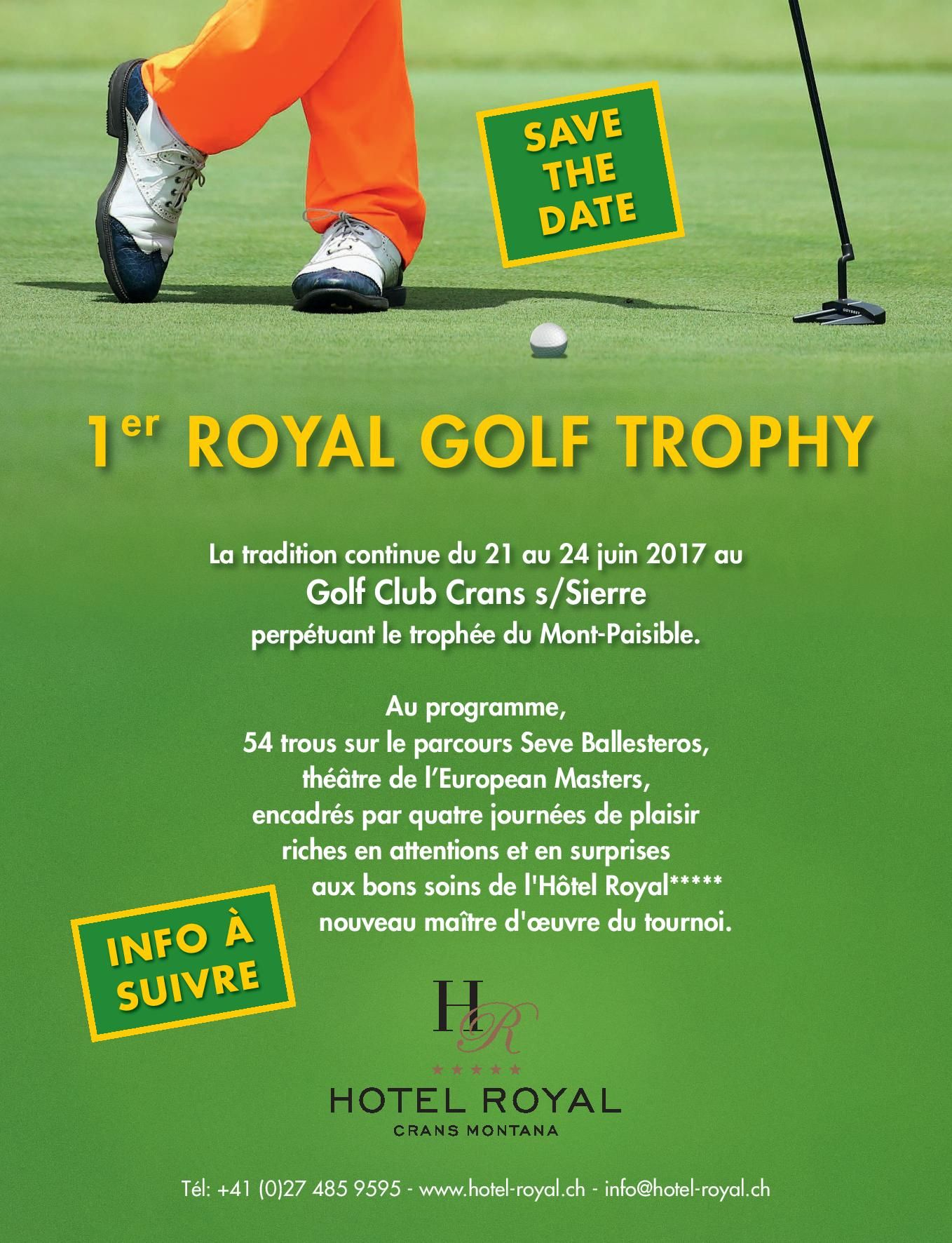 Cover of golf event named Royal Golf Trophy supported by Omega