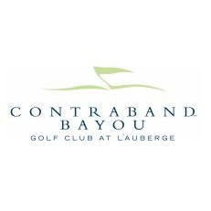 Logo of golf course named Contraband Bayou Golf Club at L'Auberge Du Lac