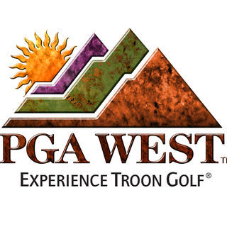 Logo of golf course named PGA WEST - Greg Norman