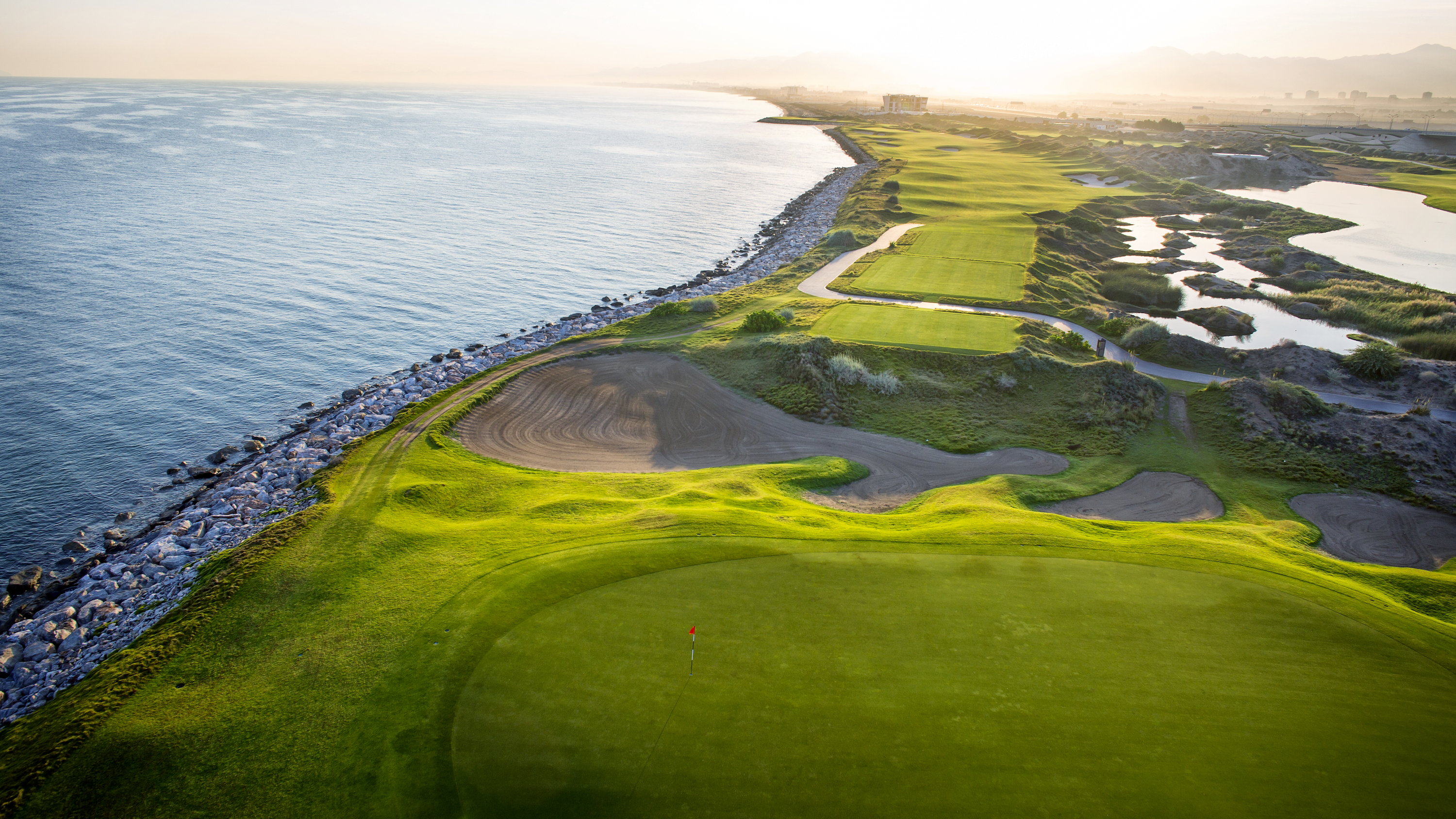 Overview of golf course named Al Mouj Golf