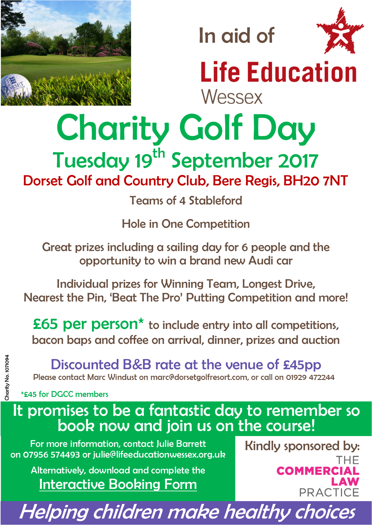 Cover of golf event named Dorset Charity Golf Day