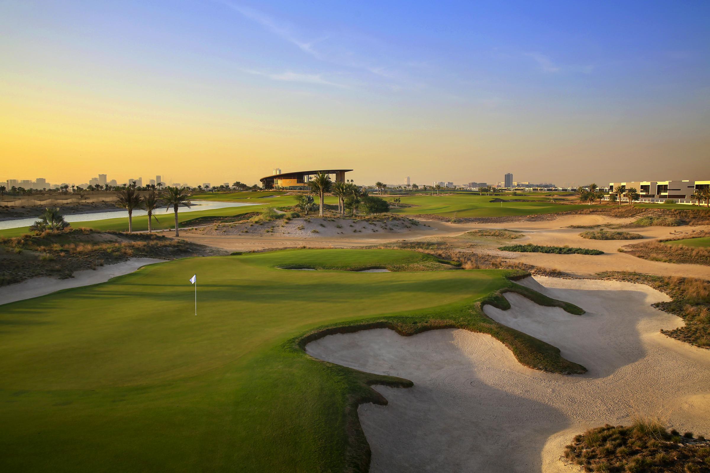 Overview of golf course named Trump International Golf Club Dubai
