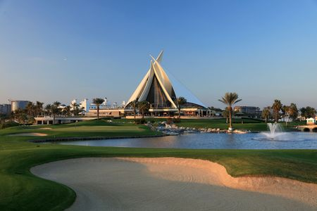 Overview of golf course named Dubai Creek Golf and Yacht Club