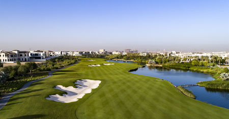 Overview of golf course named Dubai Hills Golf Club