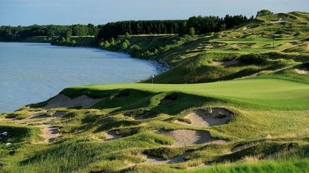 Overview of golf course named Whistling Straits - The Straits