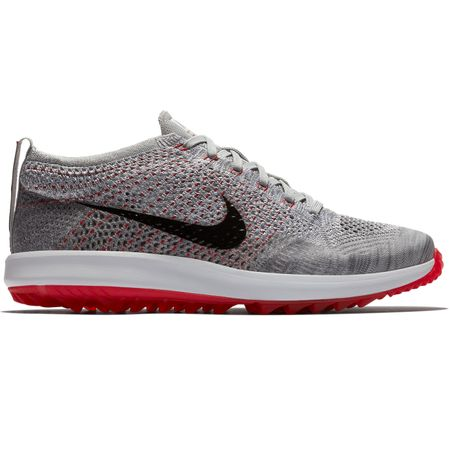 Shoes Flyknit Racer Golf Shoe Wolf Grey/Black - AW18 Nike Golf Picture