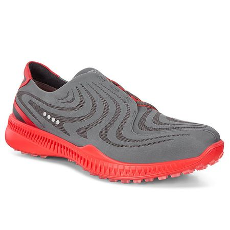 Shoes ECCO S-Drive Men's Golf Shoe - Charcoal/Red ECCO Picture