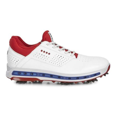 Shoes ECCO Cool 18 GTX Men's Golf Shoe - Red/White/Blue ECCO Picture