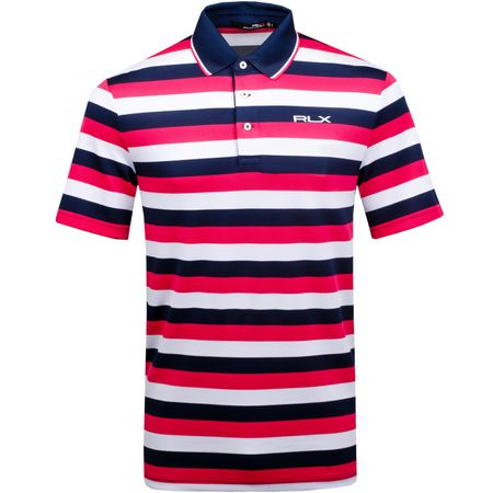 Golf undefined Striped Tech Pique Polo Exotic Pink/Pure White/French Navy - AW18 made by Polo Ralph Lauren