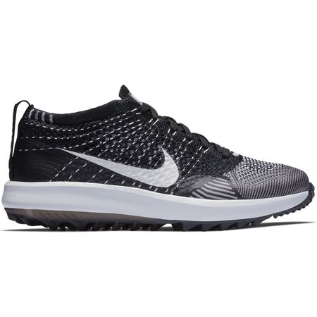 Golf undefined Nike Flyknit Racer G Women's Golf Shoe - Black/White made by Nike