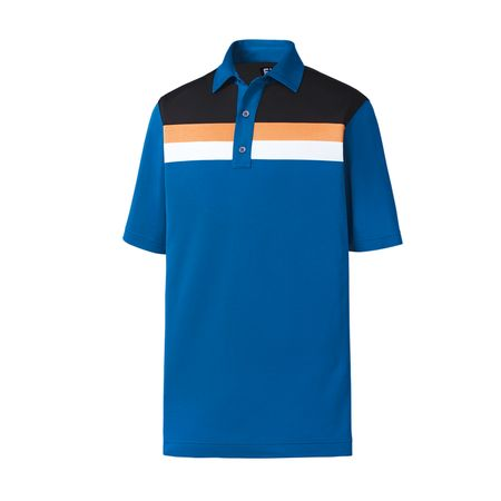 Golf undefined FootJoy Athletic Fit Pique Color Block + Stripes Self Collar Polo made by FootJoy