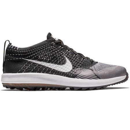 Golf undefined Womens Flyknit Racer Golf Shoe Black/White made by Nike