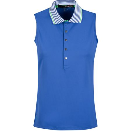 Golf undefined Womens Stripe Collar SL Tech Pique Maidstone Blue - SS19 made by Polo Ralph Lauren