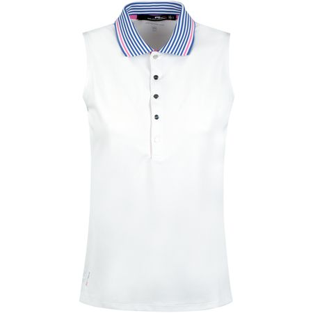 Golf undefined Womens Stripe Collar SL Tech Pique Pure White - SS19 made by Polo Ralph Lauren