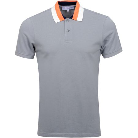 Polo Jarrett Collar Stripe Pewter/Hot Coral - SS19 Orlebar Brown Picture