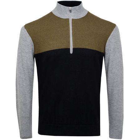 Hoodie Colour Block Quarter Zip Sweater Military - AW18 Wolsey Picture