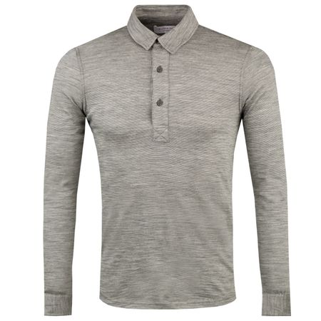 Polo Sebastian LS Merino Stripe Polo Grey Melange/Cloud - AW18 Orlebar Brown Picture