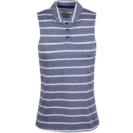 Golf undefined Womens Dry Stripe Sleeveless Polo Blue Void/White - AW19 made by Nike Golf