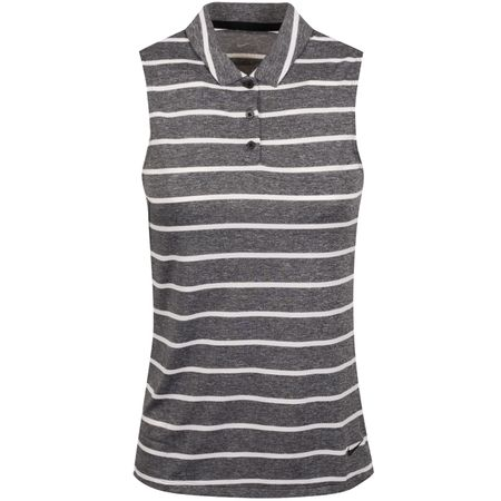 Polo Womens Dry Stripe Sleeveless Polo Black/White - AW19 Nike Golf Picture