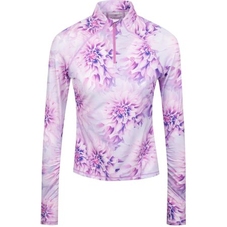 Golf undefined Womens Tech Floral Tech Quarter Zip Violet - AW19 made by G/FORE