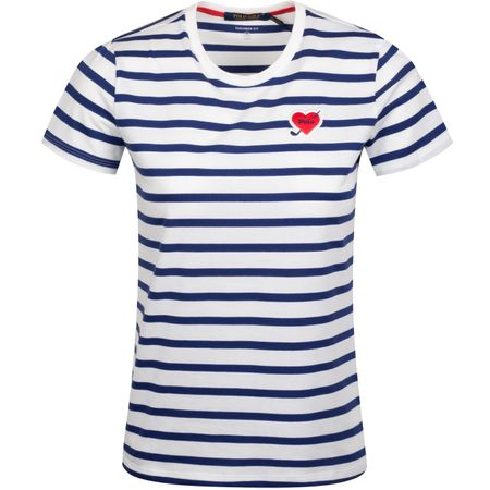 Golf undefined Womens Heart Patch Stripe T-Shirt Pure White/Sporting Royal - AW19 made by Polo Ralph Lauren
