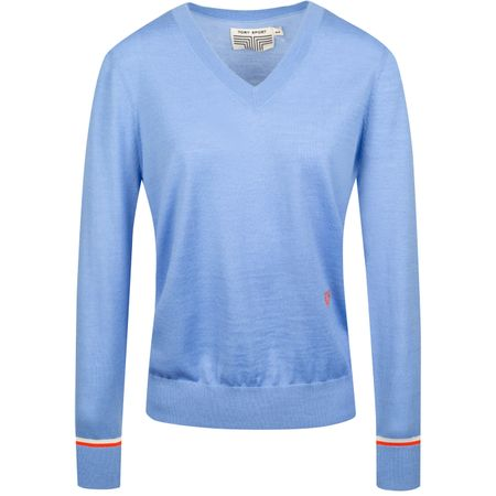 Hoodie Womens Performance Merino V-Neck Sweater Ace Blue Tory Sport Picture