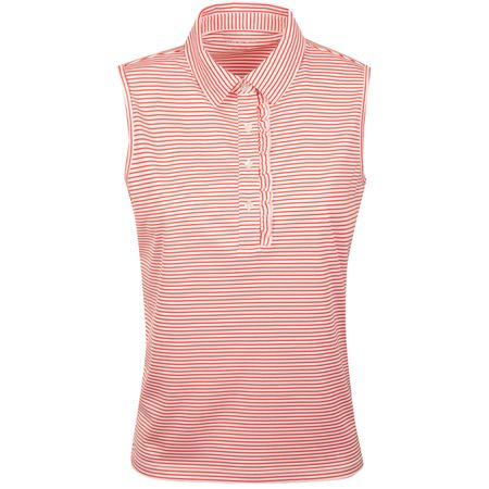 Polo Womens Performance SL Ruffle Polo Red Pinstripe Tory Sport Picture