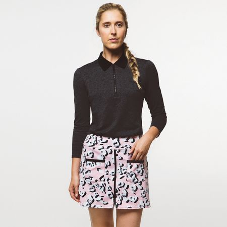 Polo Womens Leopard Lounge Polo Charcoal/Black - 2019 Foray Golf Picture