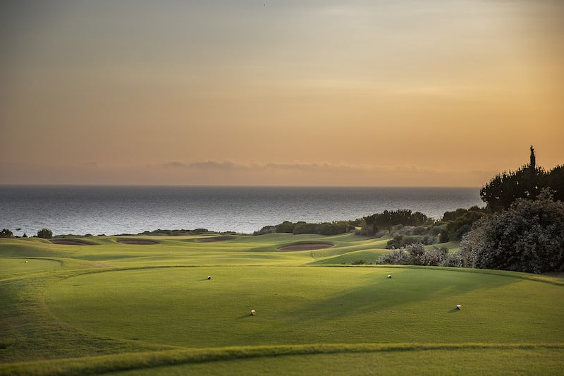 View from teebox overlooking the sea at Costa Navarino Golf Club